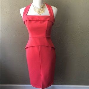 Coral Halter Wiggle Midi Dress by Bisou Bisou 4